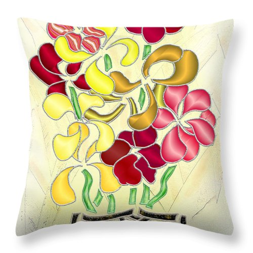Abstract Digital Art Throw Pillow featuring the digital art Flower Basket by Mark Sellers
