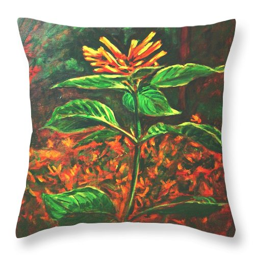 Flower Throw Pillow featuring the painting Flower Branch by Usha Shantharam