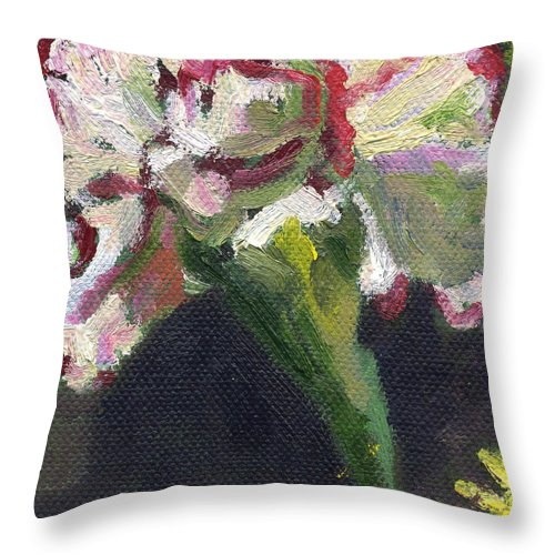 Throw Pillow featuring the painting Flower Carnation by Kathleen Barnes
