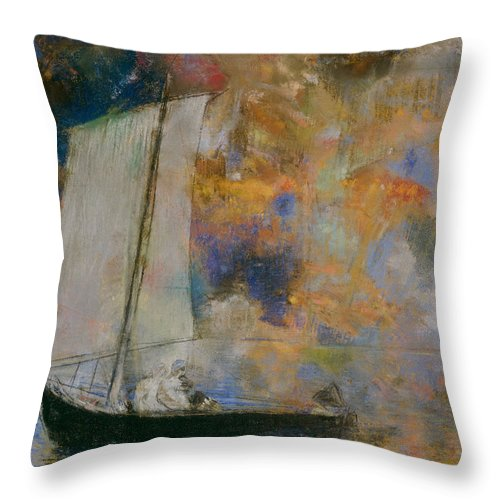 Odilon Redon Throw Pillow featuring the painting Flower Clouds by Odilon Redon