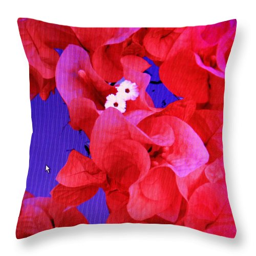 Red Throw Pillow featuring the photograph Flower Fantasy by Ian MacDonald
