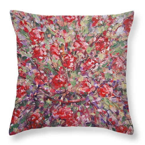 Painting Throw Pillow featuring the painting Flower Feelings. by Leonard Holland