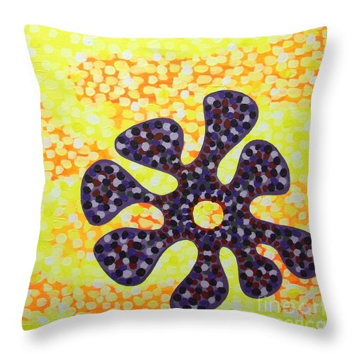 Acrylic Throw Pillow featuring the painting Flower For Rafa by Alan Hogan