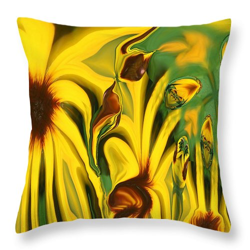 Abstract Throw Pillow featuring the photograph Flower Fun by Linda Sannuti