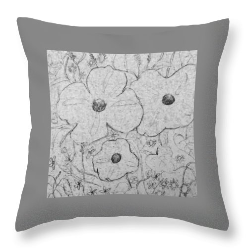 Flower Throw Pillow featuring the drawing Flower Garden 2017 by Hae Kim
