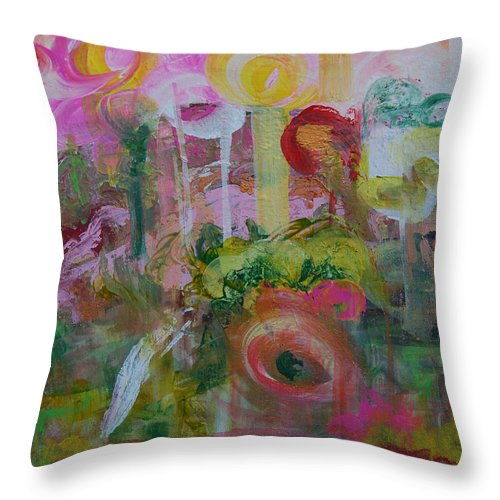 Abstract Throw Pillow featuring the painting Flower Garden 2 by Erika Avery
