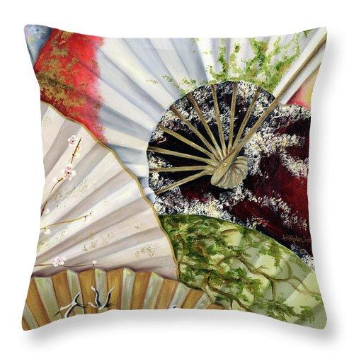 Japanese Throw Pillow featuring the painting Flower Garden by Hiroko Sakai