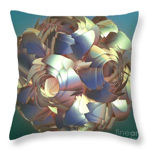 Digital Throw Pillow featuring the digital art Flower Globe by Deborah Benoit