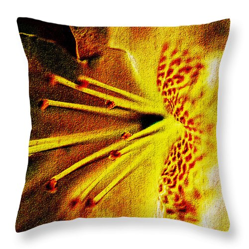 Floral Throw Pillow featuring the mixed media Flower In Abstraction Art by Debra Lynch