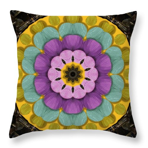 Flower Throw Pillow featuring the mixed media Flower In Paradise by Pepita Selles