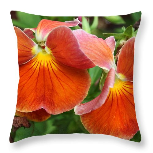Flowers Throw Pillow featuring the photograph Flower Lips by Linda Sannuti