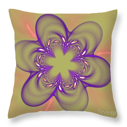 Fractal Throw Pillow featuring the photograph Flower Of Pink - Purple by Deborah Benoit