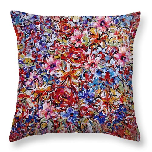 Flowers Throw Pillow featuring the painting Flower Passion by Natalie Holland
