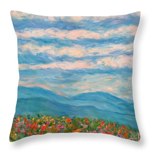 Blue Ridge Paintings Throw Pillow featuring the painting Flower Path To The Blue Ridge by Kendall Kessler