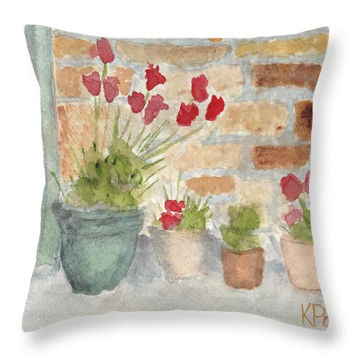 Flower Throw Pillow featuring the painting Flower Pots by Ken Powers