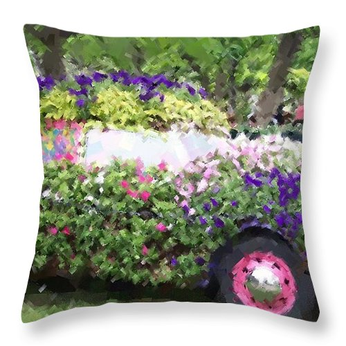 Cars Throw Pillow featuring the photograph Flower Power by Debbi Granruth