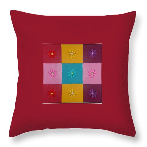Fabric Flowers On Multi Colored Squares Throw Pillow featuring the painting Flower Power by Gay Dallek