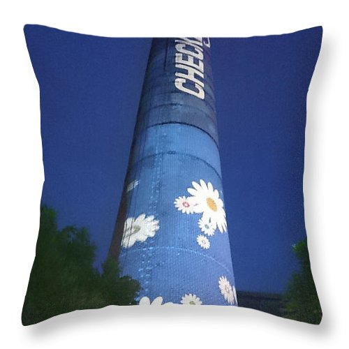 Flower Power Tower Throw Pillow featuring the photograph Flower Power Tower by Heidi Sieber