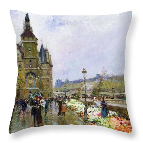 Flower Sellers By The Seine Throw Pillow featuring the painting Flower Sellers By The Seine by Georges Stein