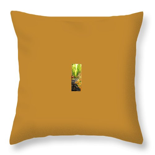 Ramblas Throw Pillow featuring the painting Flower Stands In The Ramblas Barcelona by Lizzy Forrester