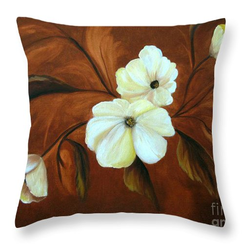 Flowers Throw Pillow featuring the painting Flower Study by Carol Sweetwood