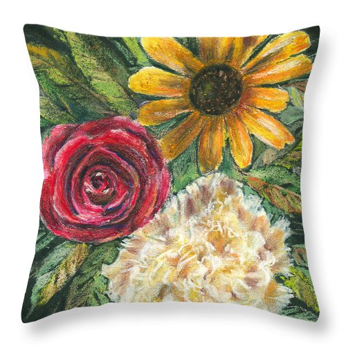 Flower Throw Pillow featuring the pastel Flower Trio by Arline Wagner