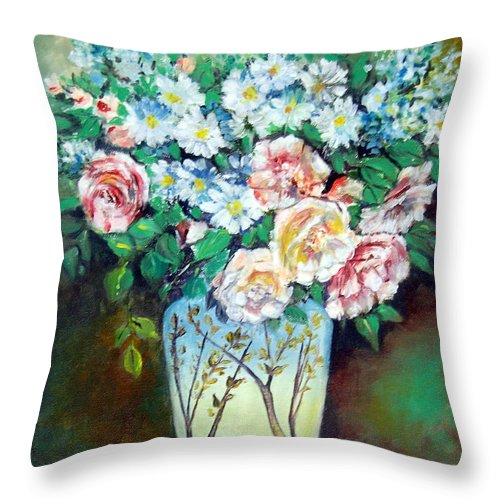 Flowers Throw Pillow featuring the painting Flower Vase by Anju Saran