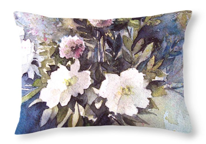 Still Life Throw Pillow featuring the painting Flower Vase by Diane Agius
