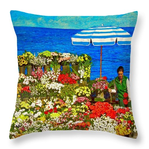Flower Throw Pillow featuring the painting Flower Vendor In Sea Point by Michael Durst
