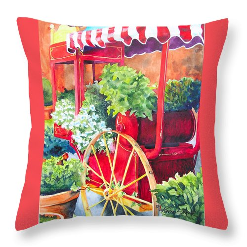 Floral Throw Pillow featuring the painting Flower Wagon by Karen Stark