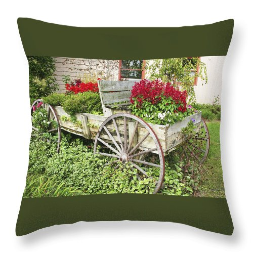 Wagon Throw Pillow featuring the photograph Flower Wagon by Margie Wildblood