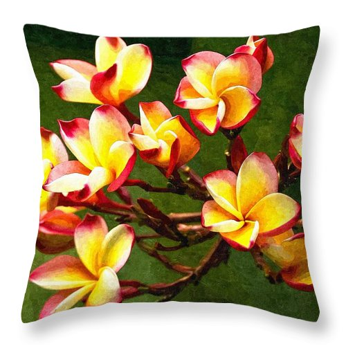 Branch Throw Pillow featuring the digital art Flowerage by Max Steinwald