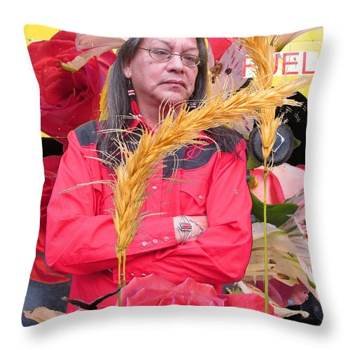 Native American. Flowers Throw Pillow featuring the photograph Flowered Raven Redfox by Feather Redfox
