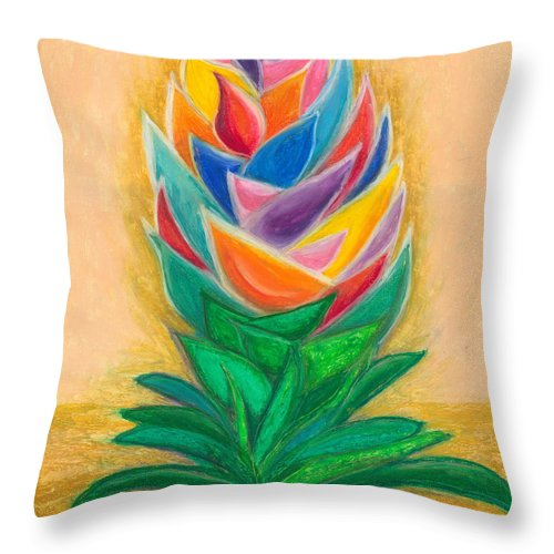 Abstract Art Throw Pillow featuring the painting Flowering by Ania M Milo