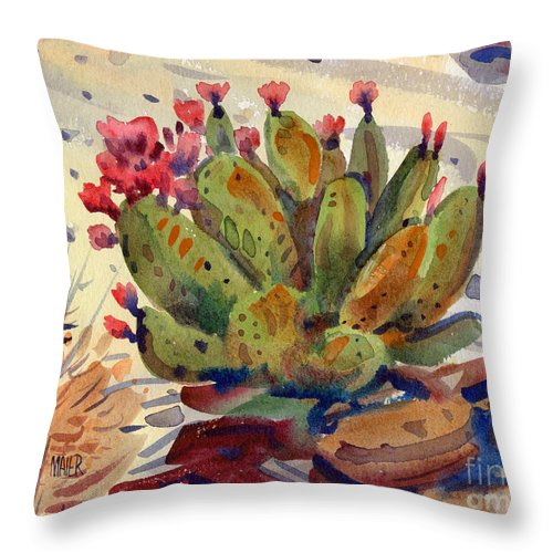 Opuntia Cactus Throw Pillow featuring the painting Flowering Opuntia by Donald Maier
