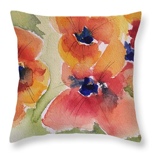 Poppy Throw Pillow featuring the painting Simpler Is Sweeter by Bonny Butler