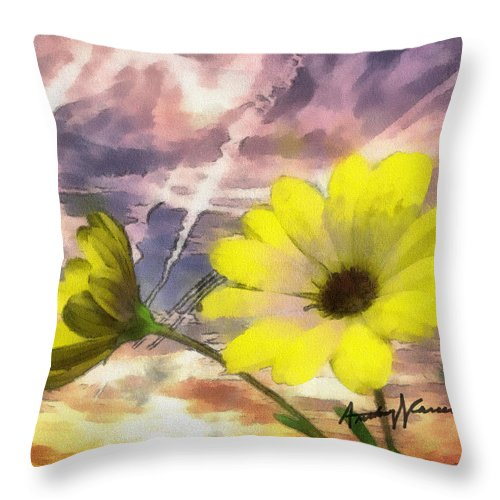 Yellow Throw Pillow featuring the painting Flowers Against A Busy Sky by Anthony Caruso