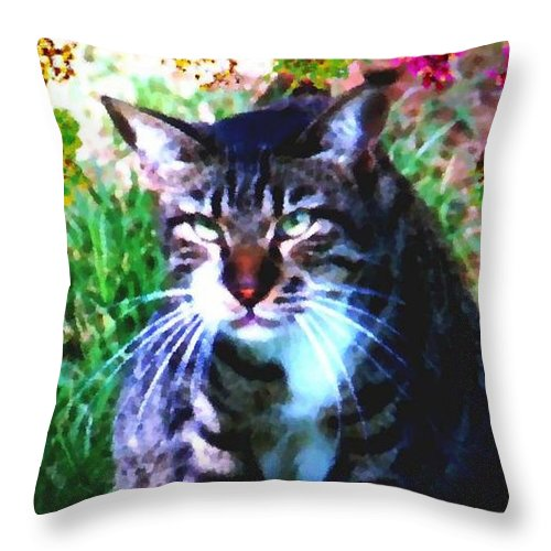 Cat Grey Attention Grass Flowers Nature Animals View Throw Pillow featuring the digital art Flowers And Cat by Dr Loifer Vladimir