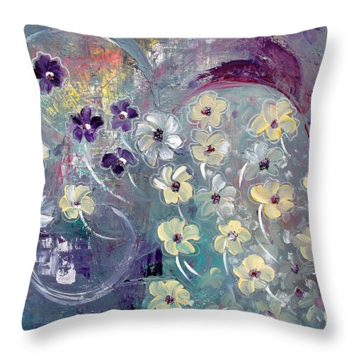 Flowers Throw Pillow featuring the painting Flowers And Dreams 5 by Gina De Gorna