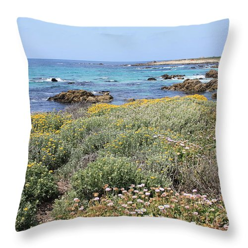 Throw Pillow featuring the photograph Flowers And Surf by Carol Groenen