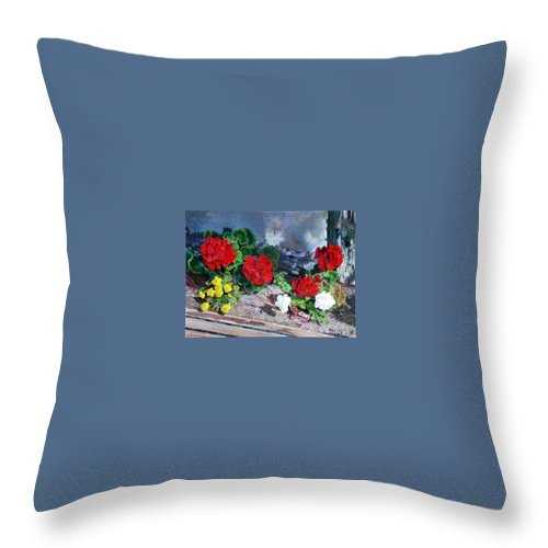Colorful Flowers Outside Of The Church Throw Pillow featuring the painting Flowers At Church by Scott Robertson
