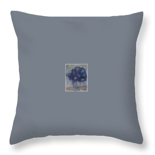 Watercolor Throw Pillow featuring the painting FLOWERS AT NIGHT original abstract gothic surreal art by Derek Mccrea