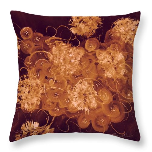 Abstract Throw Pillow featuring the digital art Flowers, Buttons And Ribbons -shades Of Burnt Umber by Carlene Harris