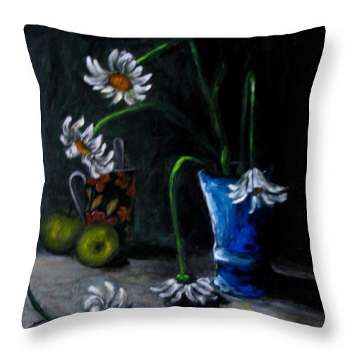 Flower Throw Pillow featuring the painting Flowers Camomiles Still Life Acrylic Painting by Natalja Picugina