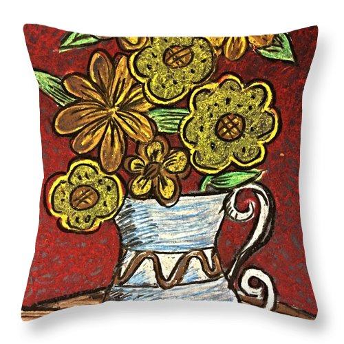 Flowers Throw Pillow featuring the drawing Flowers by Darryl Mallanda
