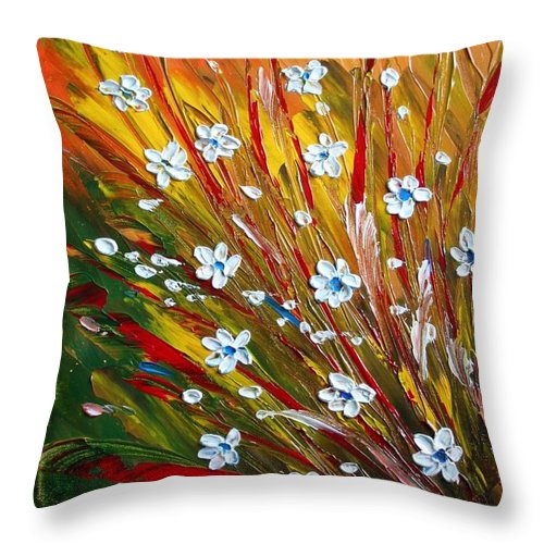 Flowers Throw Pillow featuring the painting Flowers Field by Luiza Vizoli