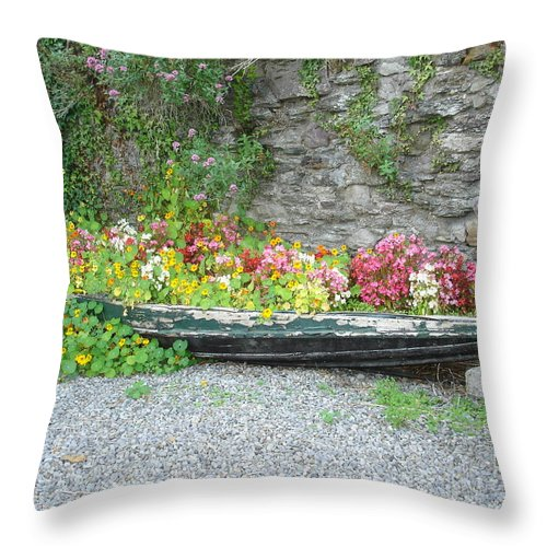 Inistioge Throw Pillow featuring the photograph Flowers Floating by Kelly Mezzapelle