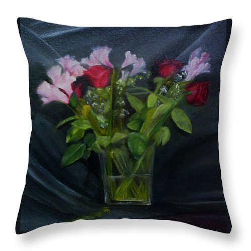 Flowers Throw Pillow featuring the painting Flowers for Sarah by Sheila Mashaw