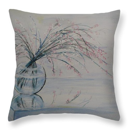 Reflection Throw Pillow featuring the painting Flowers Glass Water And Mirror by Lizzy Forrester