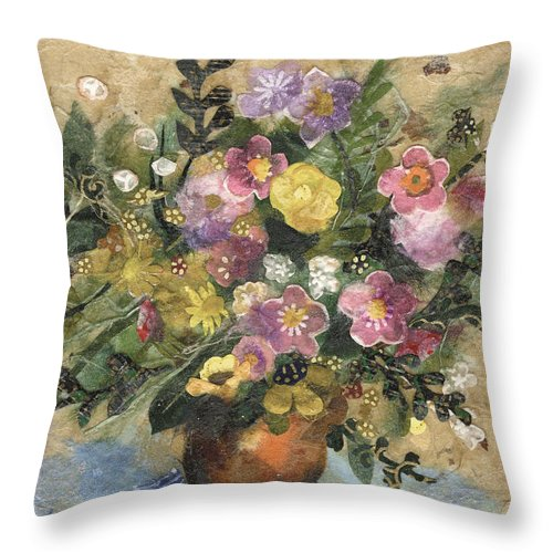 Limited Edition Prints Throw Pillow featuring the painting Flowers In A Clay Vase by Nira Schwartz